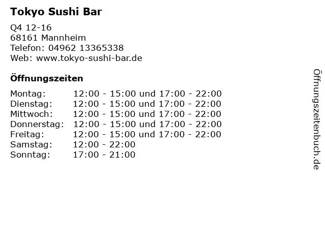Tokyo Sushi Bar in Mannheim: Adresse und Öffnungszeiten