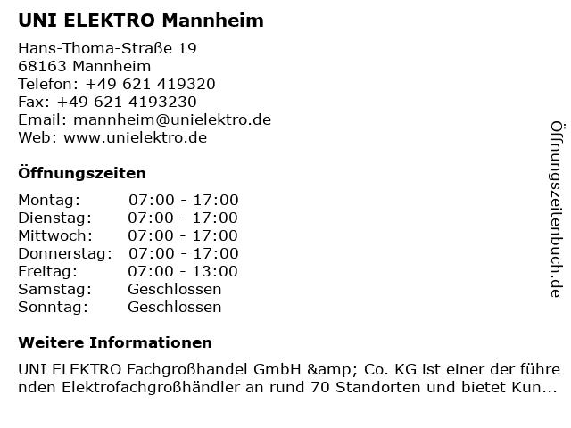 UNI ELEKTRO Mannheim in Mannheim: Adresse und Öffnungszeiten