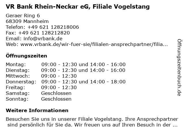 VR Bank Rhein-Neckar eG, Filiale Vogelstang in Mannheim: Adresse und Öffnungszeiten