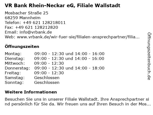 VR Bank Rhein-Neckar eG, Filiale Wallstadt in Mannheim: Adresse und Öffnungszeiten