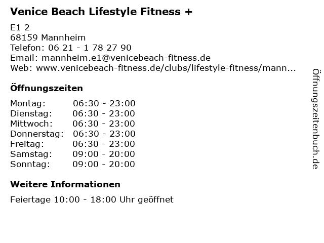 Venice Beach Lifestyle Fitness + in Mannheim: Adresse und Öffnungszeiten