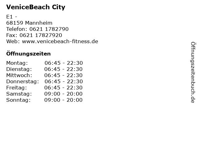 VeniceBeach City in Mannheim: Adresse und Öffnungszeiten