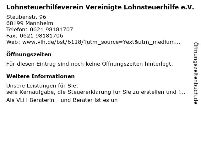Vereinigte Lohnsteuerhilfe e.V. Helene Ullmann in Mannheim: Adresse und Öffnungszeiten