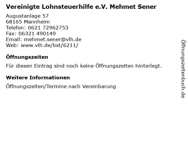 Vereinigte Lohnsteuerhilfe e.V. Mehmet Sener in Mannheim: Adresse und Öffnungszeiten