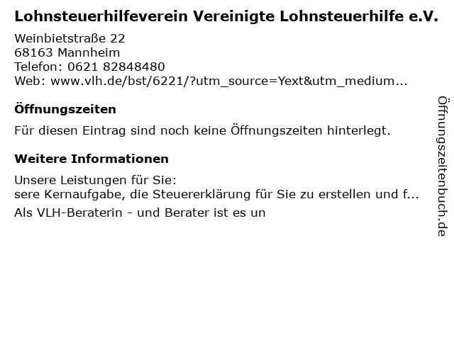 Vereinigte Lohnsteuerhilfe e.V. Silke Pfeifer in Mannheim: Adresse und Öffnungszeiten