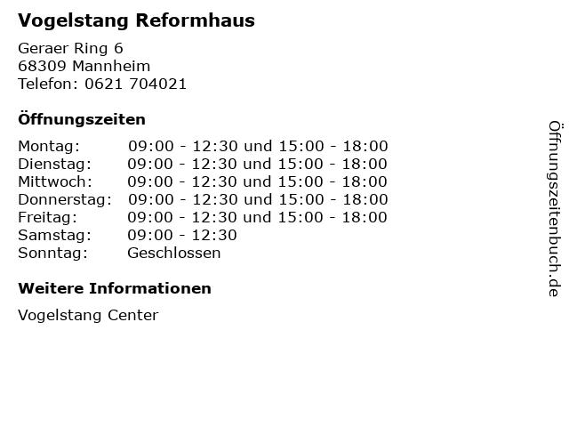 Vogelstang Reformhaus in Mannheim: Adresse und Öffnungszeiten