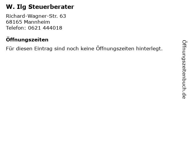 W. Ilg Steuerberater in Mannheim: Adresse und Öffnungszeiten