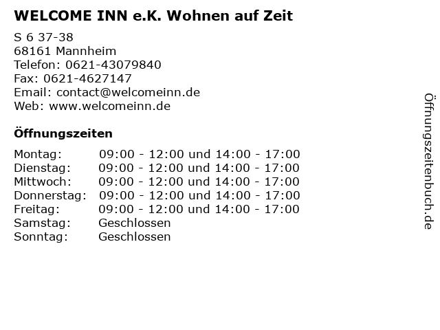 WELCOME INN e.K. Wohnen auf Zeit in Mannheim: Adresse und Öffnungszeiten