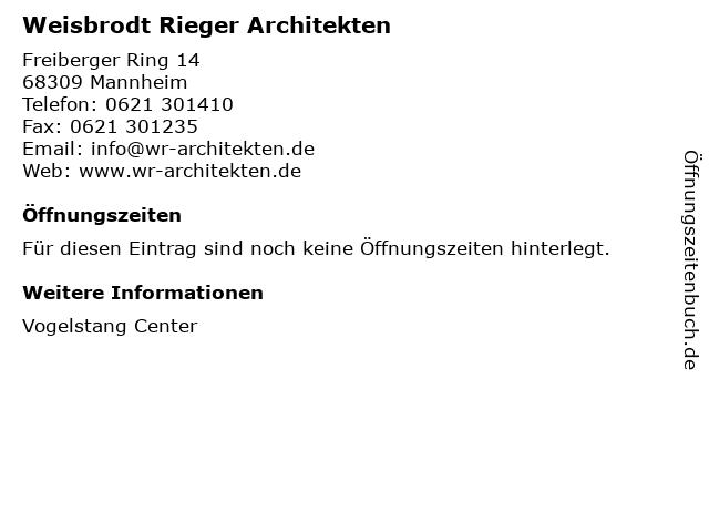 Weisbrodt Rieger Architekten in Mannheim: Adresse und Öffnungszeiten