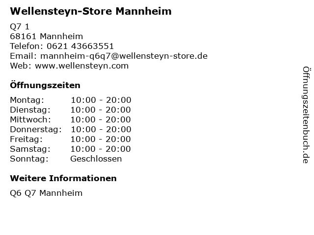 Wellensteyn-Store Mannheim in Mannheim: Adresse und Öffnungszeiten