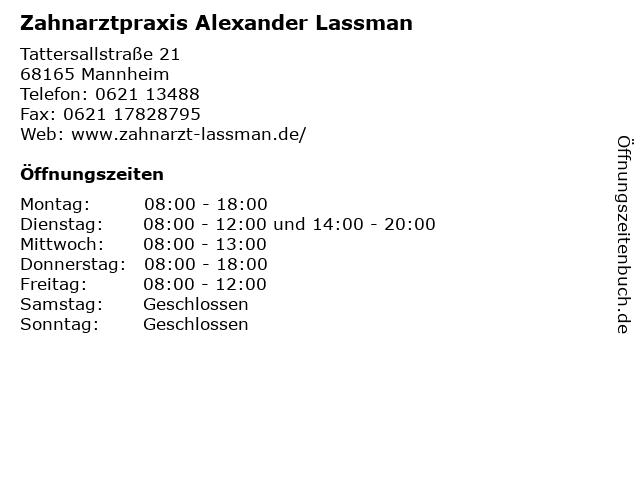 Zahnarztpraxis Alexander Lassman in Mannheim: Adresse und Öffnungszeiten