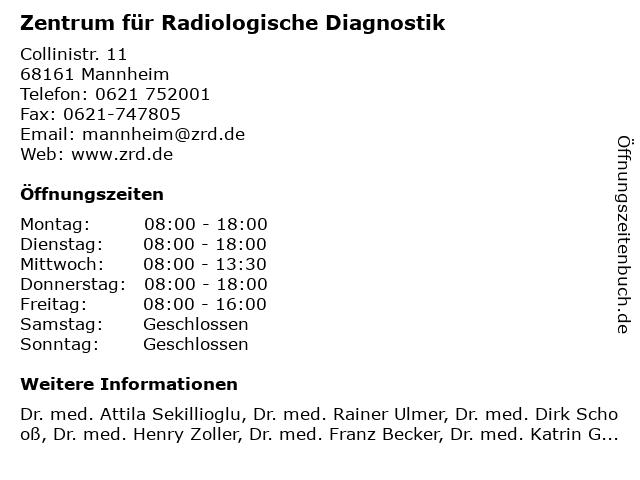 Zentrum für Radiologische Diagnostik in Mannheim: Adresse und Öffnungszeiten