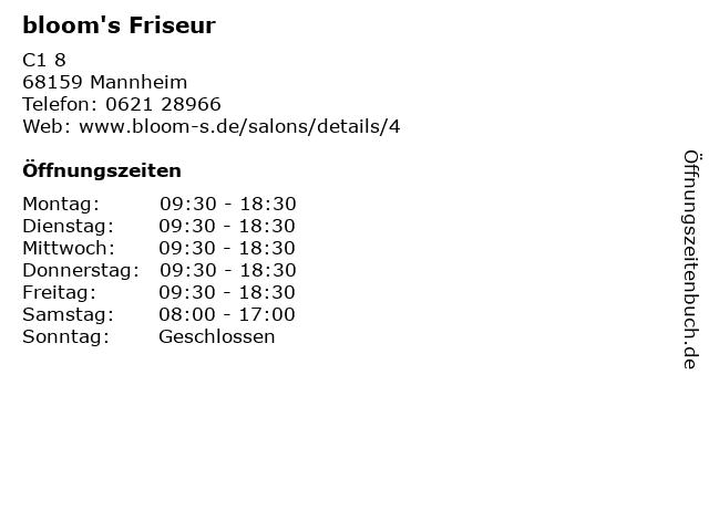 bloom's Friseur in Mannheim: Adresse und Öffnungszeiten