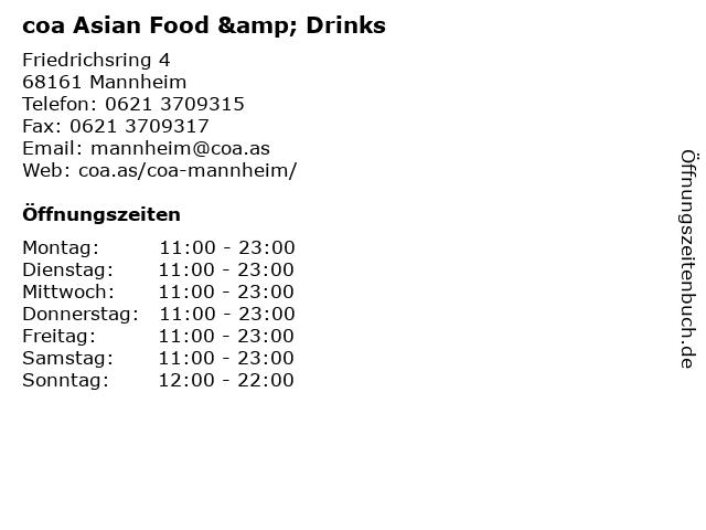 coa Asian Food & Drinks in Mannheim: Adresse und Öffnungszeiten