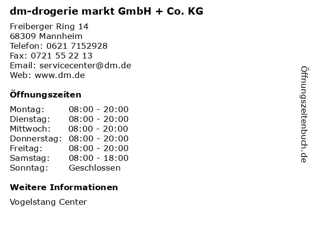 dm-drogerie markt GmbH + Co. KG in Mannheim: Adresse und Öffnungszeiten