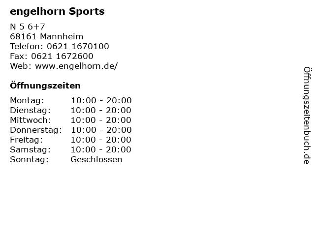 engelhorn Sports in Mannheim: Adresse und Öffnungszeiten