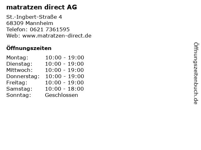 matratzen direct AG in Mannheim: Adresse und Öffnungszeiten