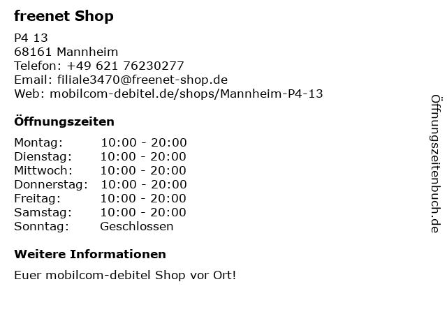 mobilcom-debitel in Mannheim: Adresse und Öffnungszeiten