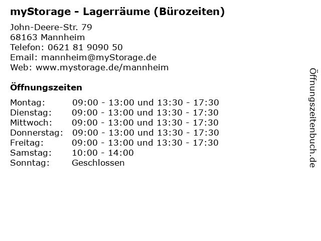 myStorage - Lagerräume (Bürozeiten) in Mannheim: Adresse und Öffnungszeiten