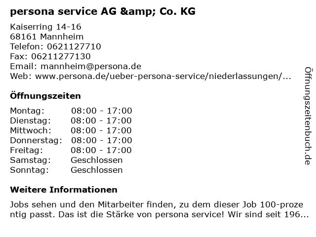 persona service AG & Co. KG in Mannheim: Adresse und Öffnungszeiten