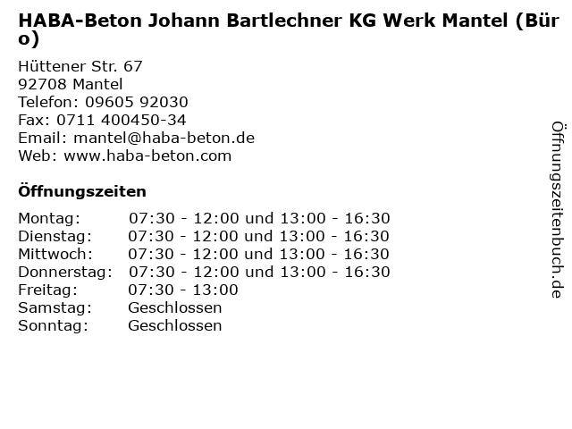 HABA-Beton Johann Bartlechner KG Werk Mantel (Büro) in Mantel: Adresse und Öffnungszeiten