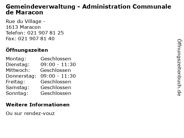 Gemeindeverwaltung - Administration Communale de Maracon in Maracon: Adresse und Öffnungszeiten