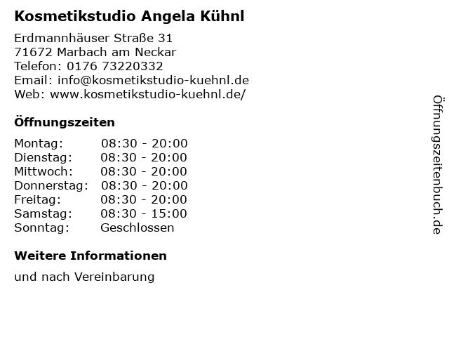 Kosmetikstudio Angela Kühnl in Marbach am Neckar: Adresse und Öffnungszeiten