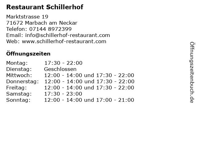 Restaurant Schillerhof in Marbach am Neckar: Adresse und Öffnungszeiten