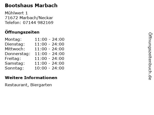 Bootshaus Marbach in Marbach/Neckar: Adresse und Öffnungszeiten