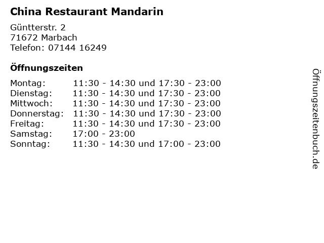 China Restaurant Mandarin in Marbach: Adresse und Öffnungszeiten
