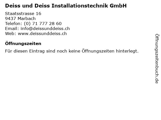 Deiss und Deiss Installationstechnik GmbH in Marbach: Adresse und Öffnungszeiten