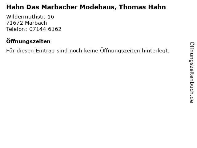 Hahn Das Marbacher Modehaus, Thomas Hahn in Marbach: Adresse und Öffnungszeiten