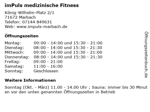 imPuls medizinische Fitness in Marbach: Adresse und Öffnungszeiten