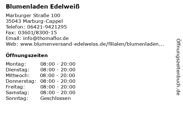 Blumenladen Edelweiß in Marburg-Cappel: Adresse und Öffnungszeiten