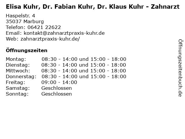 Elisa Kuhr, Dr. Fabian Kuhr, Dr. Klaus Kuhr - Zahnarzt in Marburg: Adresse und Öffnungszeiten