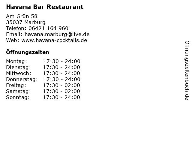 Havana Bar Restaurant in Marburg: Adresse und Öffnungszeiten