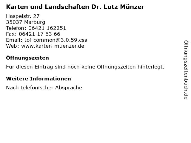 Karten und Landschaften Dr. Lutz Münzer in Marburg: Adresse und Öffnungszeiten