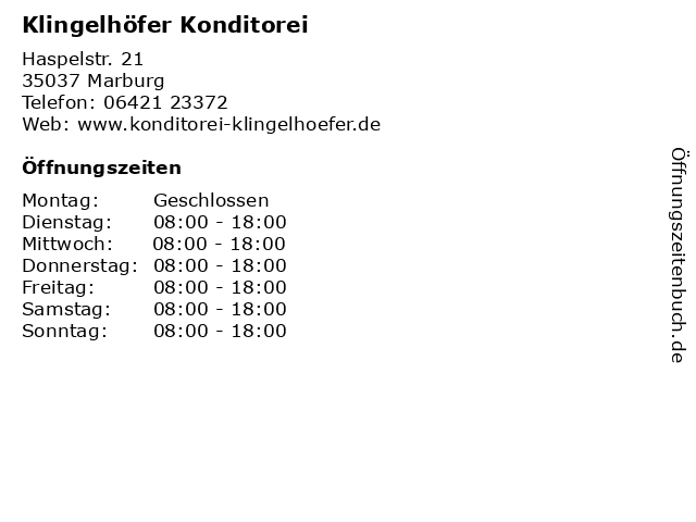 Klingelhöfer Konditorei in Marburg: Adresse und Öffnungszeiten