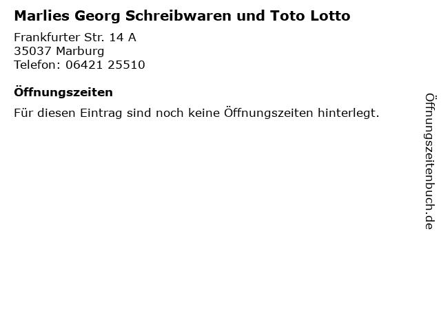 Marlies Georg Schreibwaren und Toto Lotto in Marburg: Adresse und Öffnungszeiten