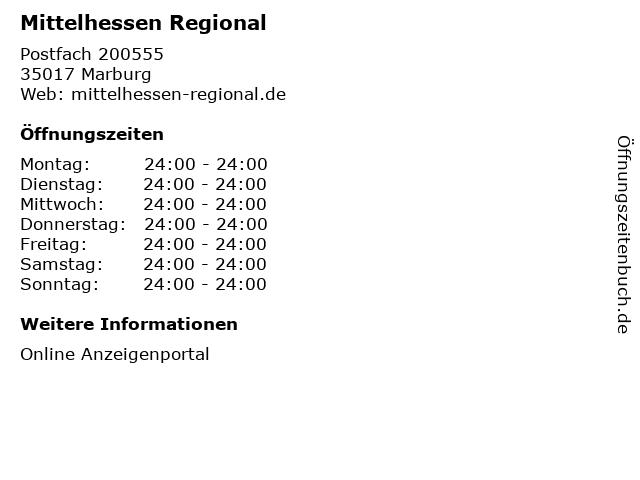 Mittelhessen Regional in Marburg: Adresse und Öffnungszeiten