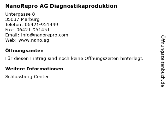 NanoRepro AG Diagnostikaproduktion in Marburg: Adresse und Öffnungszeiten