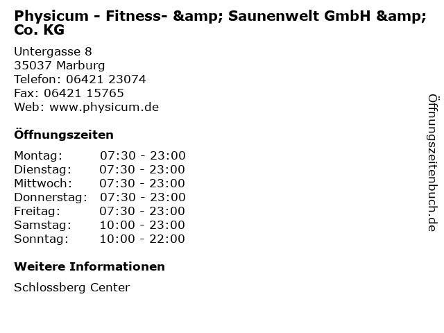 Physicum - Fitness- & Saunenwelt GmbH & Co. KG in Marburg: Adresse und Öffnungszeiten