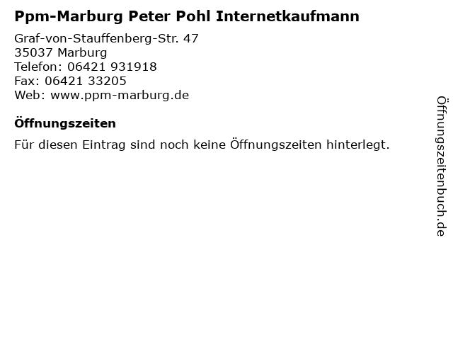 Ppm-Marburg Peter Pohl Internetkaufmann in Marburg: Adresse und Öffnungszeiten