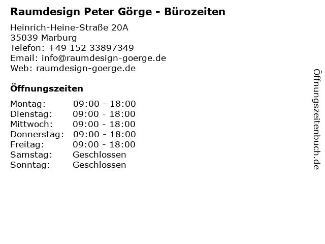 Raumdesign Peter Görge - Bürozeiten in Marburg: Adresse und Öffnungszeiten