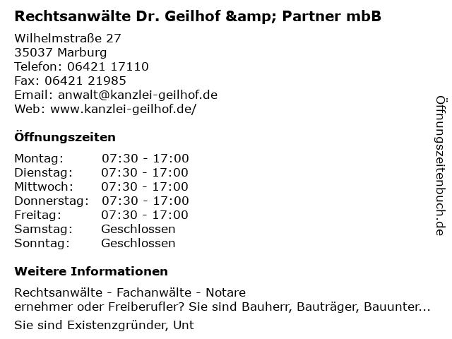 Rechtsanwälte Dr. Geilhof & Partner mbB in Marburg: Adresse und Öffnungszeiten