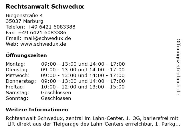 Rechtsanwalt Schwedux in Marburg: Adresse und Öffnungszeiten