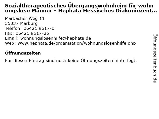 Sozialtherapeutisches Übergangswohnheim für wohnungslose Männer - Hephata Hessisches Diakoniezentrum e. V. in Marburg: Adresse und Öffnungszeiten