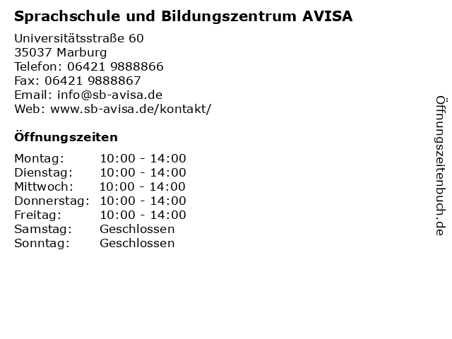Sprachschule und Bildungszentrum AVISA in Marburg: Adresse und Öffnungszeiten