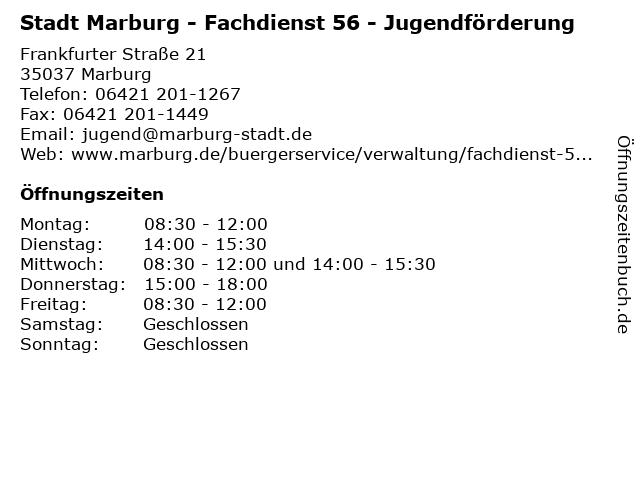 Stadt Marburg - Fachdienst 56 - Jugendförderung in Marburg: Adresse und Öffnungszeiten