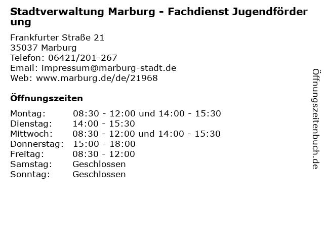 Stadtverwaltung Marburg - Fachdienst Jugendförderung in Marburg: Adresse und Öffnungszeiten